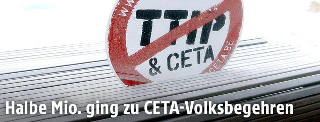Protestschild gegen CETA und TTIP