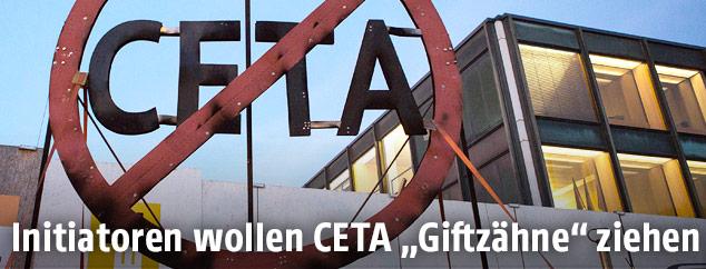 Durchgestrichenes CETA-Schild