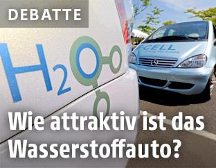 H2O Schriftzug auf einem Wasserstoffauto