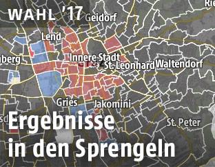 Eine Grafik zeigt Sprengelergebnisse der Graz-Wahl