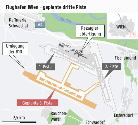Karte von der geplanten dritten Piste am Flughafen Schwechat