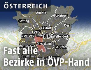 Eine Grafik zeigt die Bezirksergebnisse der Graz-Wahl