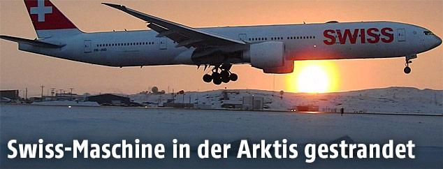 Swiss-Maschine bei Landung