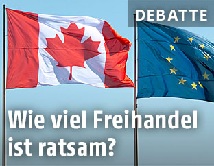 Flaggen der EU und von Kanada