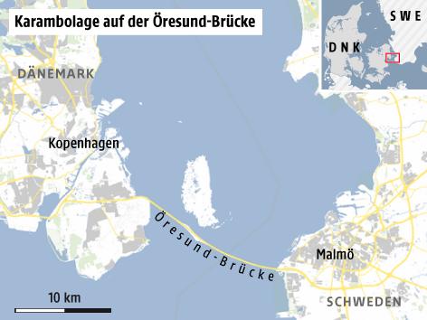 brücke dänemark schweden karte 14 Verletzte bei Karambolage auf Öresund Brücke   news.ORF.at