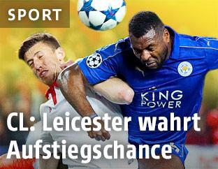 Leicester Citys Wes Morgan und Sevillas Clement Lenglet