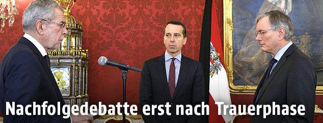 Bundespräsident Alexander van der Bellen, Bundeskanzler Christian Kern (SPÖ) und Sozialminister Alois Stöger (SPÖ)