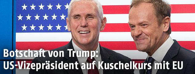 US-Vizepräsident Mike Pence und EU-Ratspräsident Donald Tusk