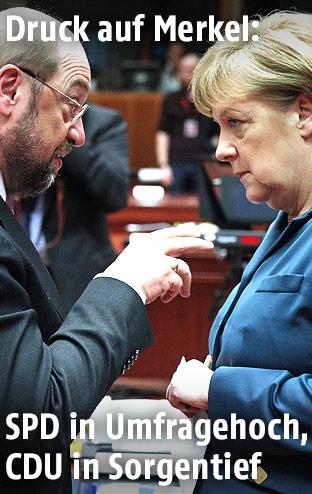 Martin Schulz und Angela Merkel