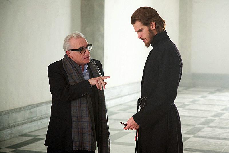 Regisseur und Drehbuchautor Martin Scorsese und Andrew Garfield