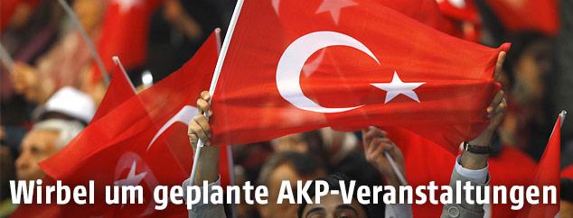 Menschen mit Türkei-Flaggen