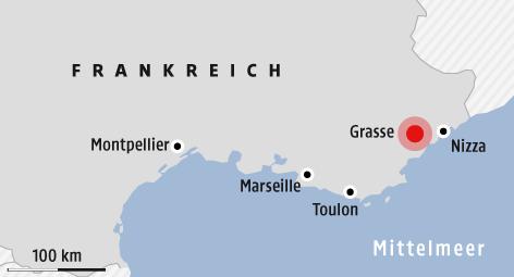 Karte zeigt Grasse