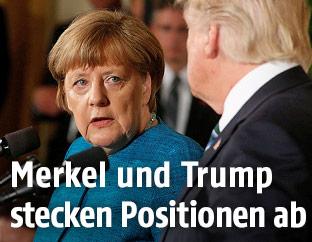 Die deutsche Kanzlerin Angela Merkel bei US-Präsident Donald Trump