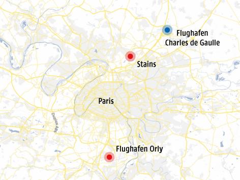Karte von der Pariser Umgebung