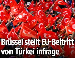 Hunderte pro-Erdogan Demonstranten schwenken türkische Fahnen