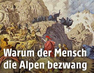 Illustration von Hannibal beim Überqueren der Alpen