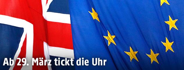 Großbritanniens- und EU-Flagge
