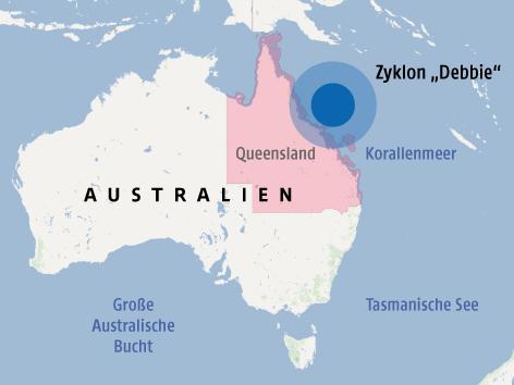 """Karte zeigt den Zyklon """"Debbie"""" vor der Küste Australiens"""