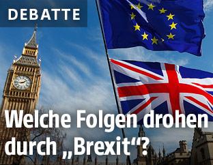 Europäische und britische Fahne in London