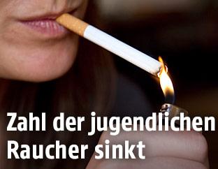 Zigarette wird angezündet