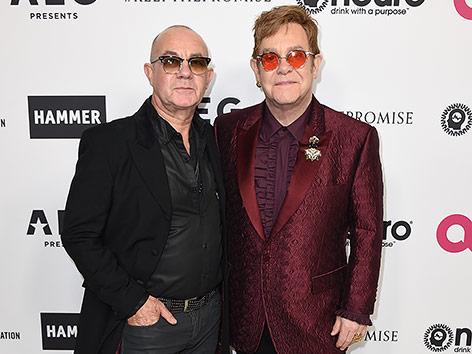Bernie Taupin mit Elton John bei seiner Feier