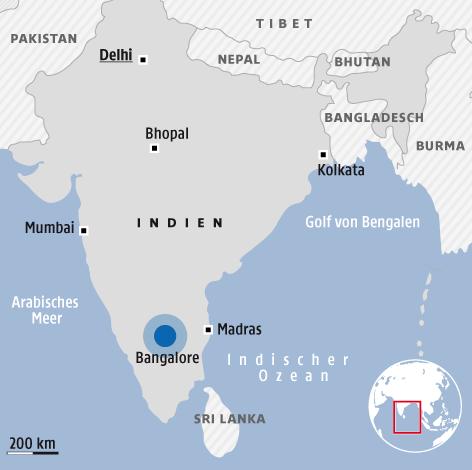 Eine Grafik zeigt die Stadt Bangalore in Indien