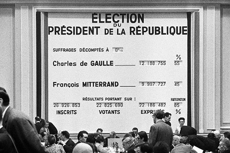 Anzeigetafel bei der Präsidentschaftswahl in Frankreich, 1965