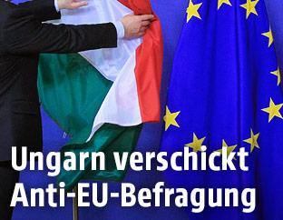EU- und Ungarnflagge