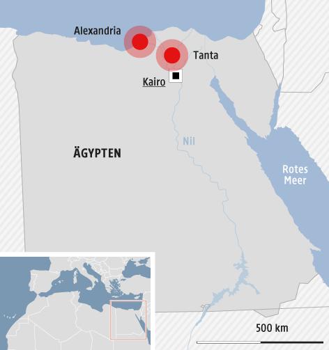 Eine Karte zeigt die Orte Tanta und Alexandria in Ägypten