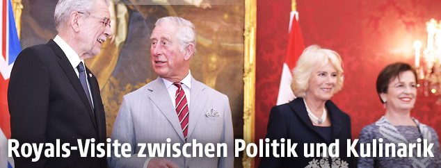 Prinz Charles, seine Ehefrau Herzogin Camilla, Bundespräsident Alexander Van der Bellen und seiner Ehefrau Doris Schmidauer