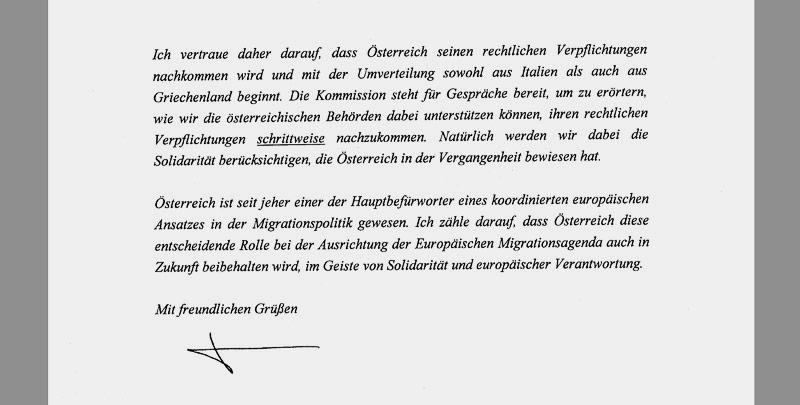 Brief von EU-Kommissionspräsident Jean-Claude Juncker an Bundeskanzler Kern
