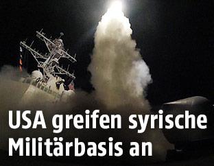 Abgefeuerte Rakete von der USS Porter im Mittelmeer