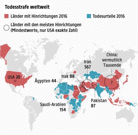 Todesstrafe Weltkarte