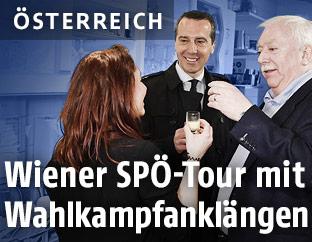 """Bundeskanzler Kern (SPÖ) und Wiens Bürgermeister Michael Häupl (SPÖ) zu Gast beim Wiener Generationenkaffeehaus """"Vollpension"""""""