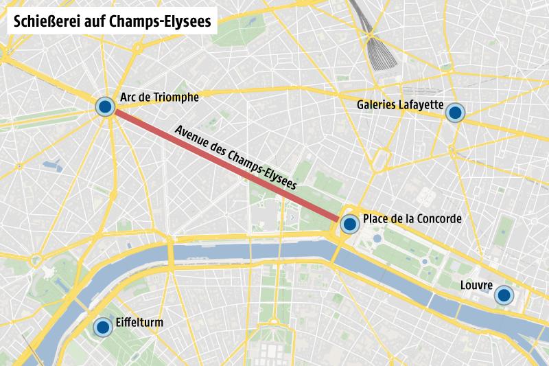Karte zeigt die Pariser Champs-Elysees