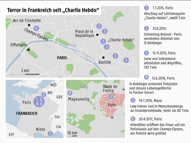 Übersichtskarte Frankreich, Stadtplan Paris mit Anschlagsorten
