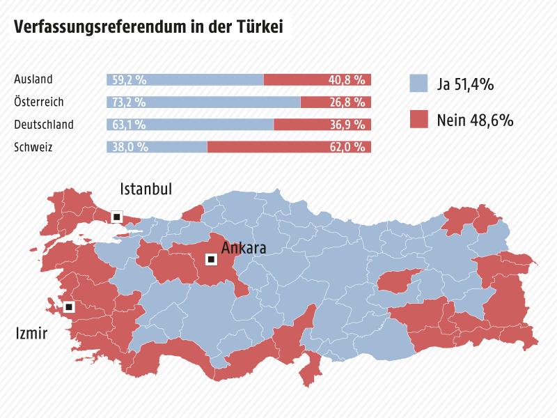 Karte zeigt das Wahlverhalten der Türkei