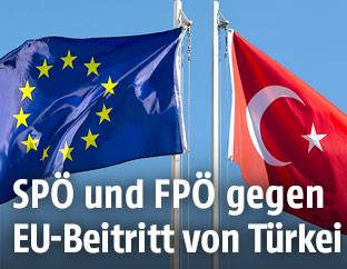 Fahne der EU und der Türkei