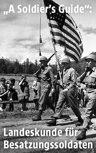 Kinder salutieren vor amerikanischen Soldaten mit Flagge
