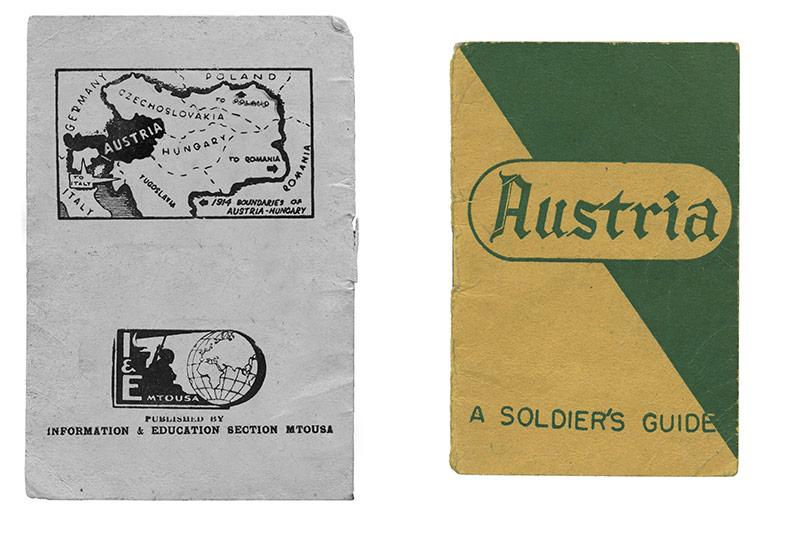 """links: Karte Österreich und Nachbarländer, 1945 - rechts: Historisches Buchcover """"A Soldier's Guide"""", 1945"""