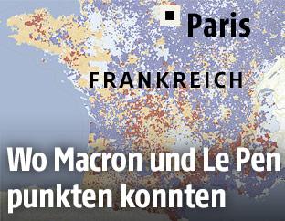 Karte mit den regionalen Ergebnissen der Frankreich-Wahl