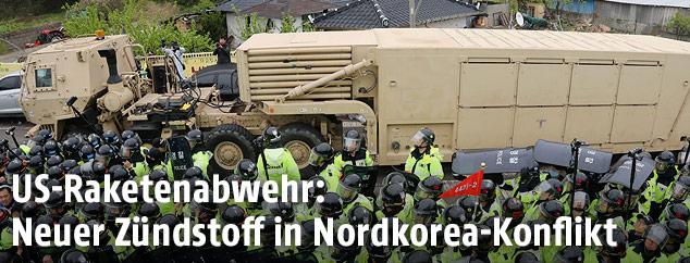 Amerikanischer Truck mit Raketenabwehrsystem erreicht Südkorea