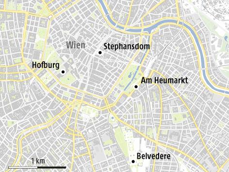 Karte vom Zentrum Wiens