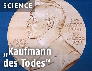 Eine Münze mit Alfred Nobels Portrait
