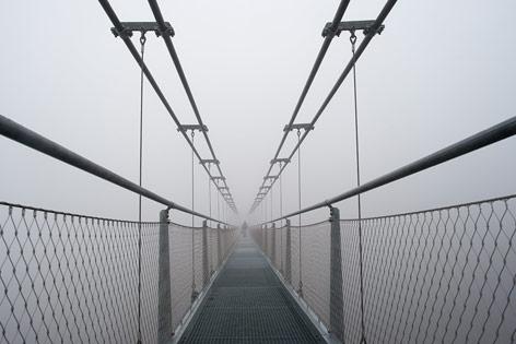 Fußgängerseilhängebrückein  Oberharz am Brocken (Deutschland)