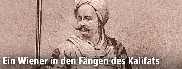 Rudolf Carl Slatin in der Kampftracht der Mahdisten