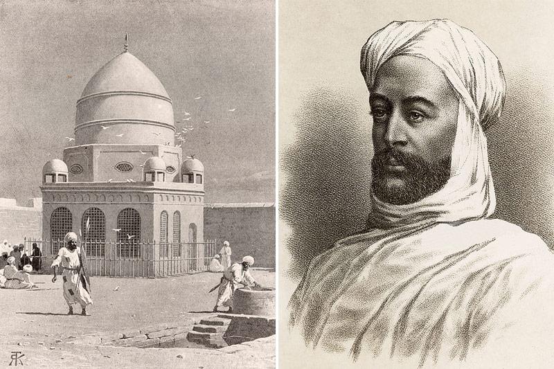 "Bild links: Das Grabmal des Mahdi, Bild rechts: Muhammad Ahmad, der ""Mahdi"""