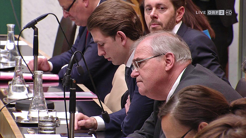 Wissenschaftsminister Harald Mahrer, ÖVP-Chef Sebastian Kurz und Vizekanzler Wolfgang Brandstetter (alle ÖVP) auf der Regierungsbank