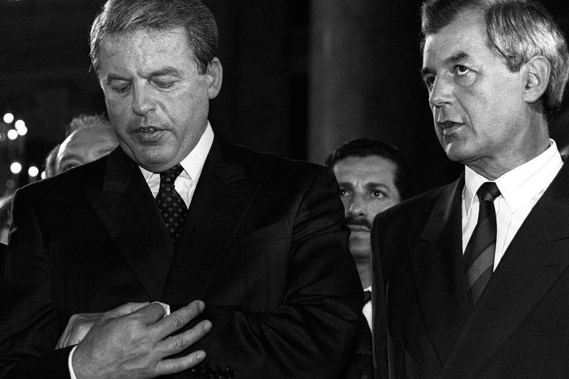Bundeskanzler Franz Vranitzky und Vizekanzler Josef Riegler 1990