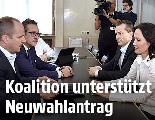 Matthias Strolz (NEOS), Heinz Christian Strache (FPÖ), Robert Lugar (TS) und Eva Glawischnig (Grüne)